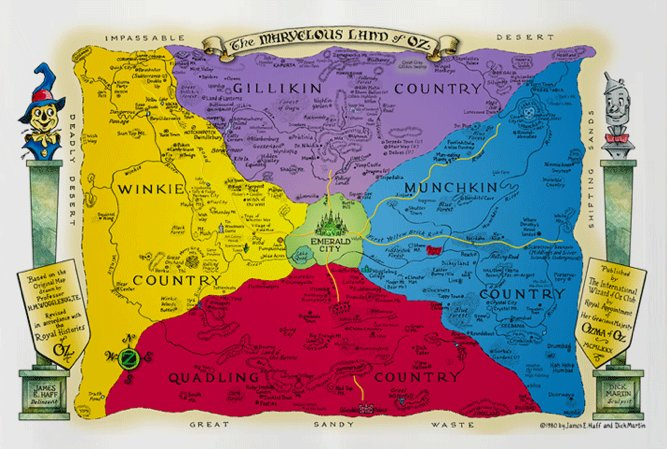 """Map entitled """"The Marvelous Land of Oz"""" showing Emerald City in green in the centre with the northern pueple area Gillikin Country, Eastern blue area Munchkin Country, southern red area Quadling Country and the yellow western area Winkie Country"""
